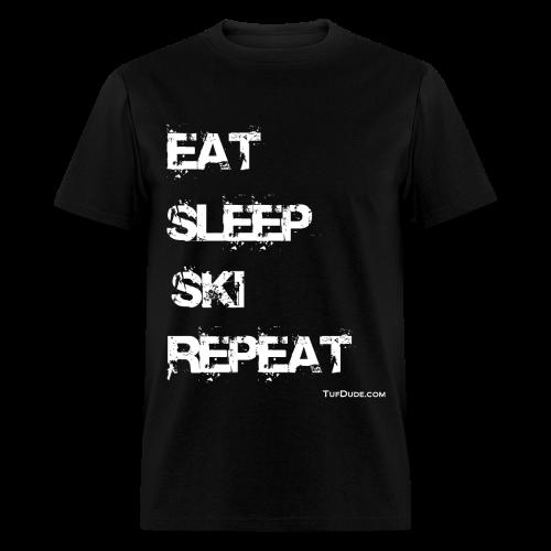 Eat Sleep Ski Repeat wb TD - Men's T-Shirt