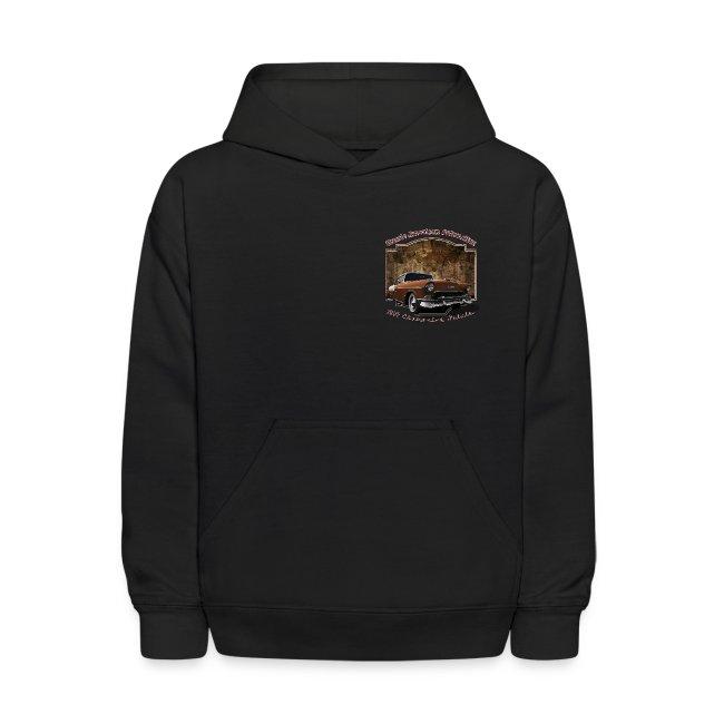 Kids Black Hoodie | 55 Chevy | Classic American Automotive