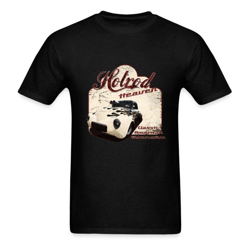 Mens Black T-shirt | Hotrod Heaven | Classic American Automotive - Men's T-Shirt