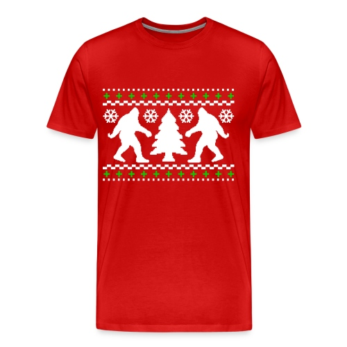 Ugly Holiday Bigfoot Christmas Sweater - Men's Premium T-Shirt