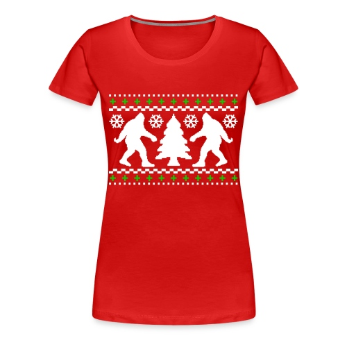 Ugly Holiday Bigfoot Christmas Sweater - Women's Premium T-Shirt