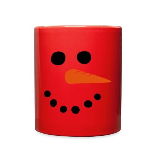 Red Mug Snowman Face - Full Color Mug