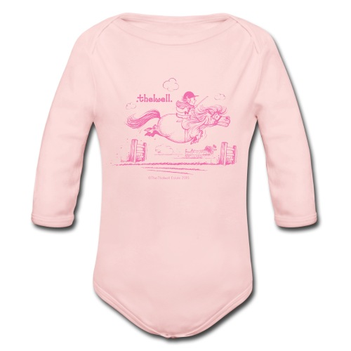 PonyJump Pink Thelwell  - Long Sleeve Baby Bodysuit