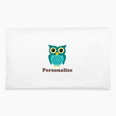 Kids pillow case with cute owl cartoon and name