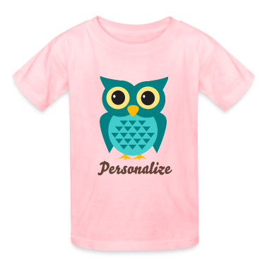 girly pink t shirt with cute owl cartoon and name png