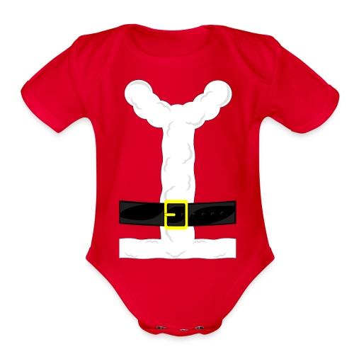 Baby Santa Clause Costume - Organic Short Sleeve Baby Bodysuit