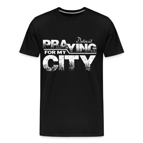 Pray City-Detroit (Prayer on Back) - Men's Premium T-Shirt