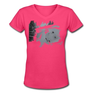 Powder Skier V-Neck T-Shirt - Women's - Women's V-Neck T-Shirt