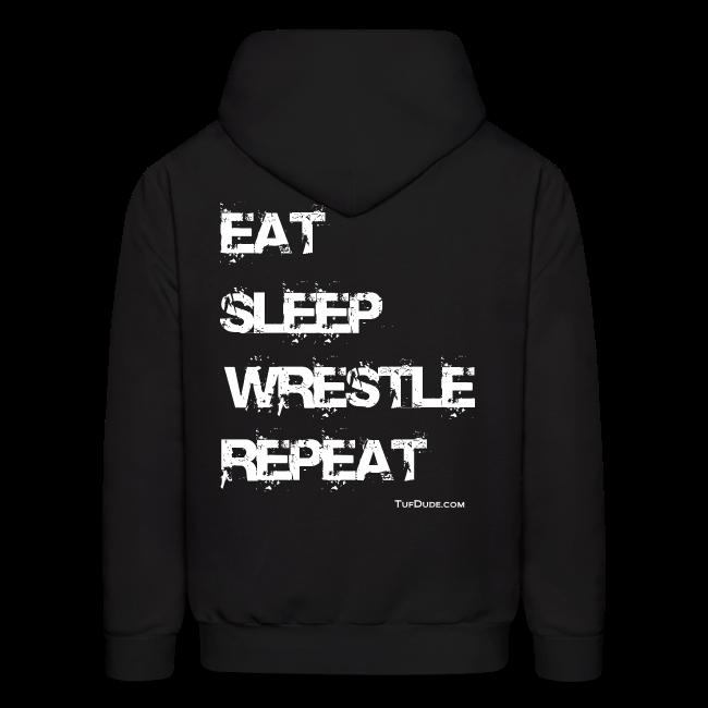 Men's Eat Sleep Wrestle Repeat Hoodie (Back Print)