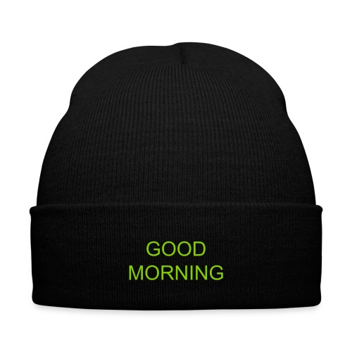 good morning beanie - green - Knit Cap with Cuff Print