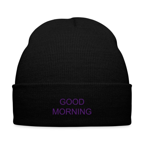 good morning beanie - purple - Knit Cap with Cuff Print