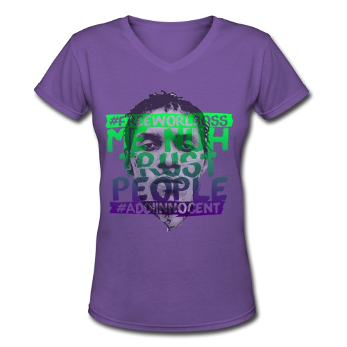 ME NUH TRUST PEOPLE (GRN-PURP) V-NECK S/S - Women's V-Neck T-Shirt