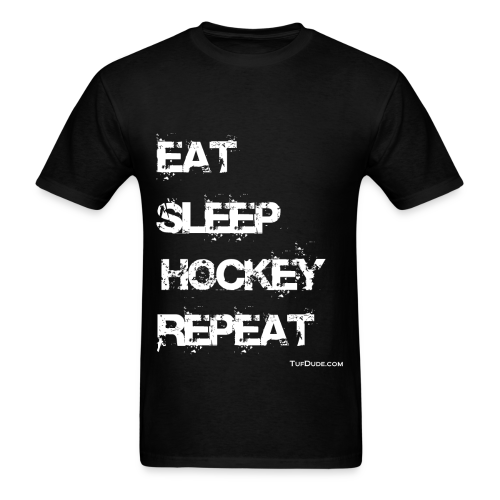 Men's Eat Sleep Hockey Repeat - wb  - Men's T-Shirt