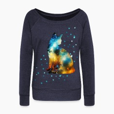 Space Cat on the Milky Way, Galaxy, Kitty, Star Long Sleeve Shirts