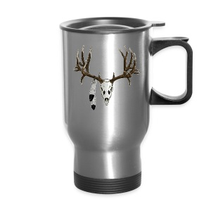 Deer skull with feathers - Travel Mug