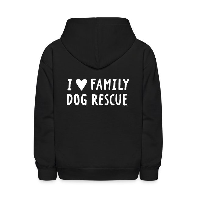 Family Dog Rescue Pride (I Heart Family Dog on back): Kids Hoodie