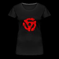 T-Shirts ~ Women's Premium T-Shirt ~ 45 R.P.M. Record Adaptor T-Shirt (Women Black/Red)