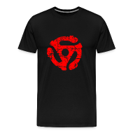 T-Shirts ~ Men's Premium T-Shirt ~ 45 R.P.M. Record Adaptor T-Shirt (Men Black/Red)