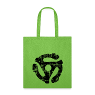 Bags & backpacks ~ Tote Bag ~ 45 R.P.M. Record Adaptor Tote Bag (Green/Black)