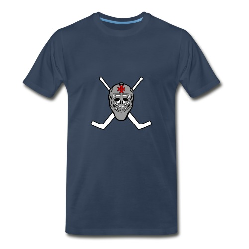 Hockey Goalie Jolly Roger (monty python) on black t-shirt - Men's Premium T-Shirt