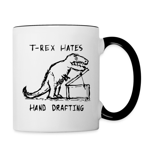 Architecture T-Rex Hates Drafting Coffee Mug (Contrast Mug) - Contrast Coffee Mug