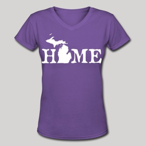 HOME - Michigan - Women's V-Neck T-Shirt
