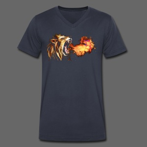 Fire Breathing Lion - Men's V-Neck T-Shirt by Canvas