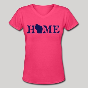 HOME - Wisconsin - Women's V-Neck T-Shirt