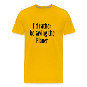 Saving The Planet T-Shirt (Men Gray&Black) - Men's Premium T-Shirt