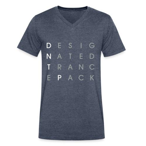 Grid V-Neck (White/Gray) - Male - Men's V-Neck T-Shirt by Canvas