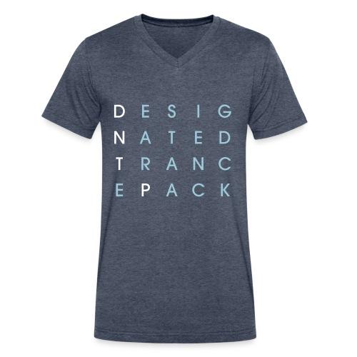 Grid V-Neck (White/Powder Blue) - Male - Men's V-Neck T-Shirt by Canvas