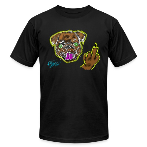 Middle Finger Pug - Rough Drawing - Men's  Jersey T-Shirt