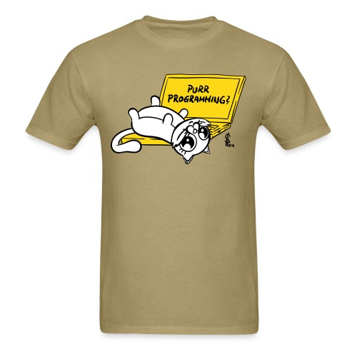 Purr programming (plushy print) for human males - Men's T-Shirt