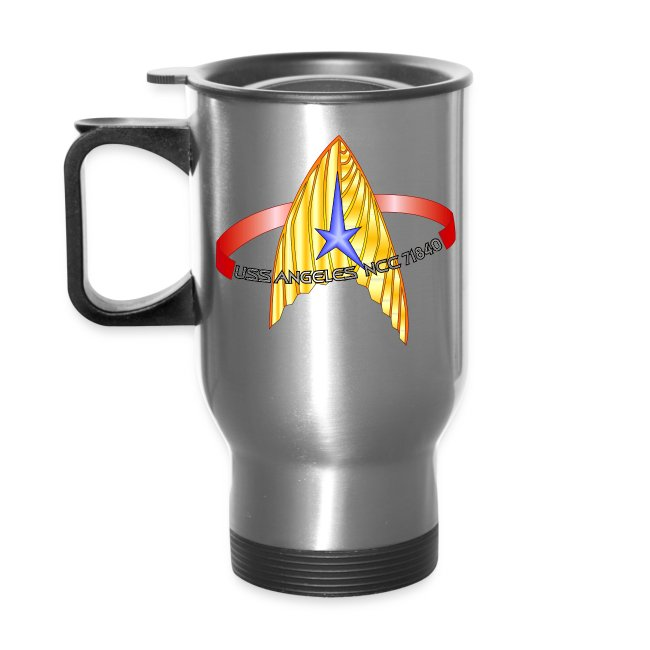 Thermal Travel Mug with both old and new USS Angeles logos