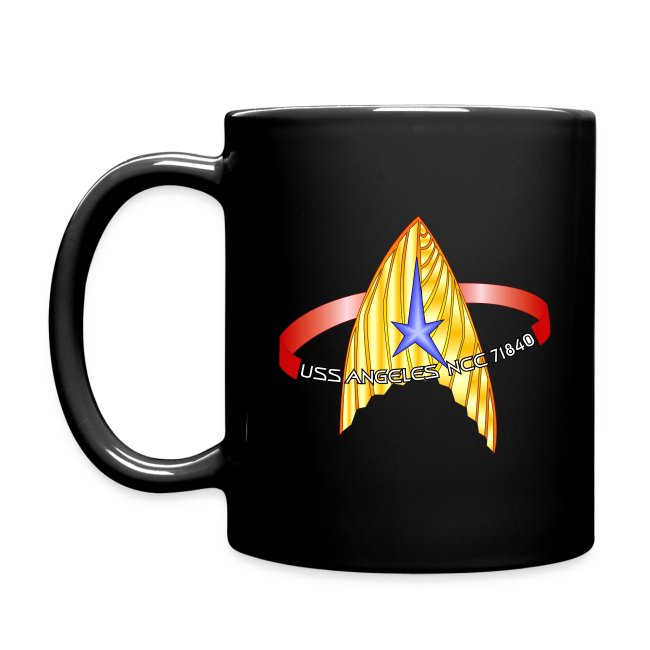 Color mug with both old and new USS Angeles logos