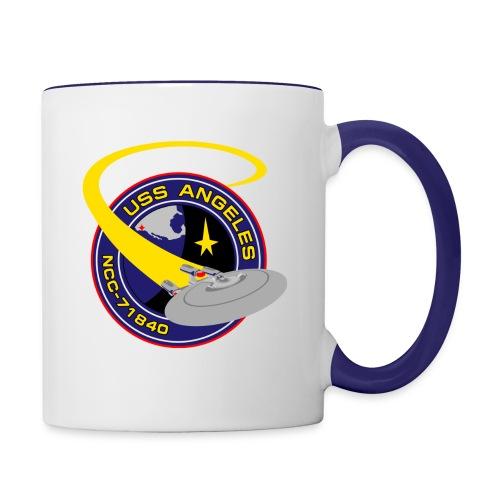 Two-tone mug (new USS Angeles mission logo and starship) - Contrast Coffee Mug
