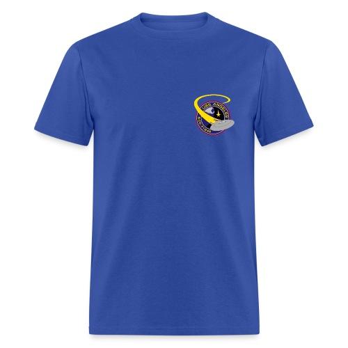 Men's Standard T-shirt (starship orbiting scene on back) - Men's T-Shirt