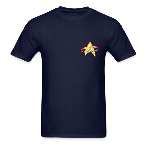 Men's Standard T-shirt (starship orbiting scene on back) - Men's T-Shirt