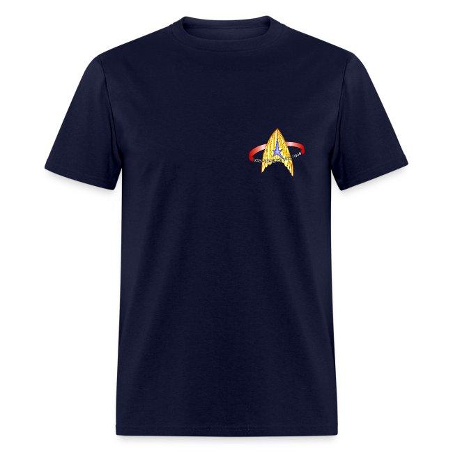 Men's Standard T-shirt (starship orbiting scene on back)