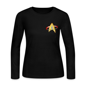 Women's Long Sleeve (starship orbiting scene on back) - Women's Long Sleeve Jersey T-Shirt