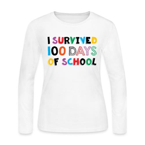I Survived 100 Days of School - Women's Long Sleeve Jersey T-Shirt