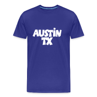 T-Shirts ~ Men's Premium T-Shirt ~ Austin TX T-Shirt (Men Blue/White)