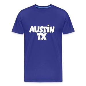 Austin TX T-Shirt (Men Blue/White) - Men's Premium T-Shirt