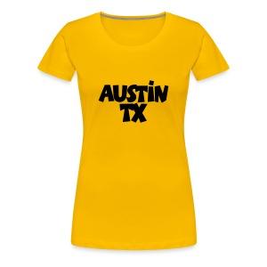 Austin TX T-Shirt (Women Yellow/Black) - Women's Premium T-Shirt