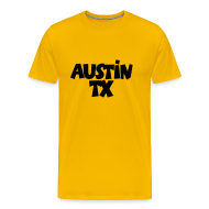 T-Shirts ~ Men's Premium T-Shirt ~ Austin TX T-Shirt (Men Yellow/Black)