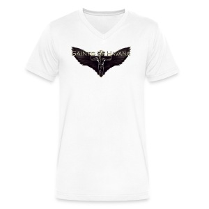 BASIC WHITE V-NECK T-SHIRT WITH SAINTS OF HAVANA NEW LOGO - Men's V-Neck T-Shirt by Canvas