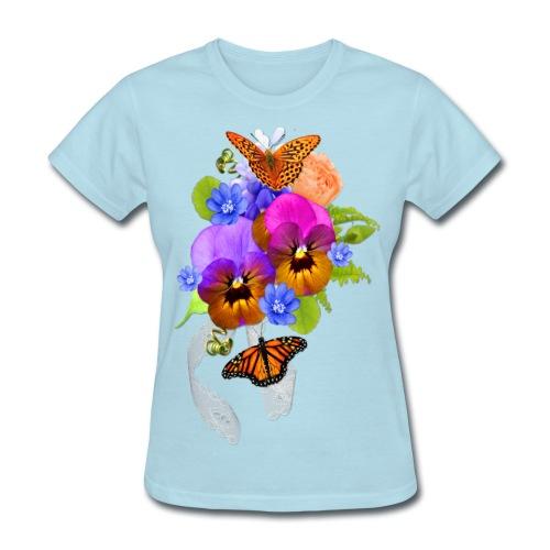Flowers and Butterflies - Women's T-Shirt