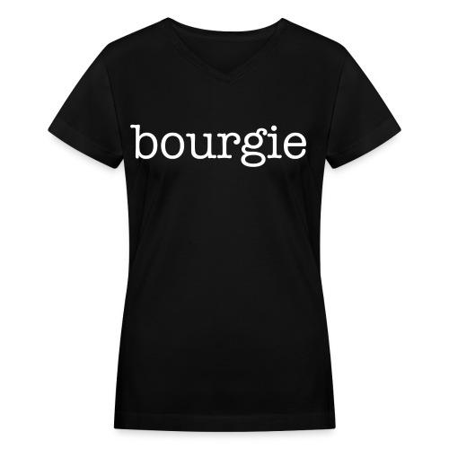 Bourgie - Black V Neck - Women's V-Neck T-Shirt