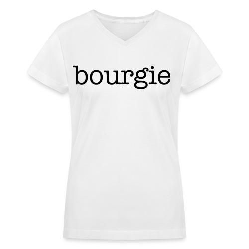 Bourgie - White V-Neck - Women's V-Neck T-Shirt