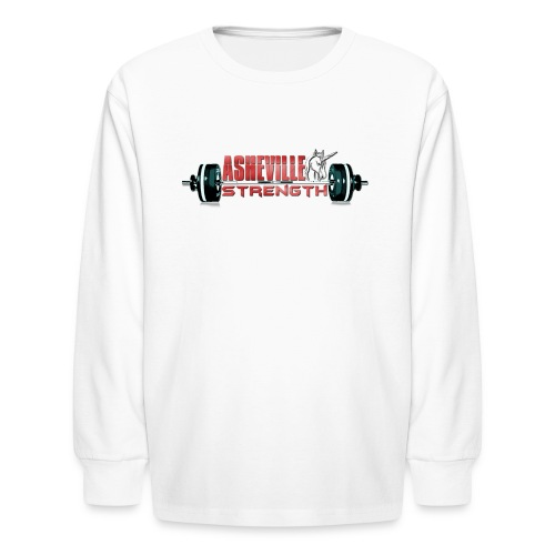 Kids Long Sleeve White Asheville Strength Shirt - Kids' Long Sleeve T-Shirt